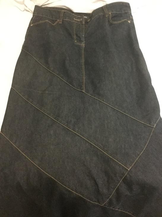 dark denim skirt