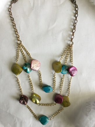 green blue purple nugget necklace