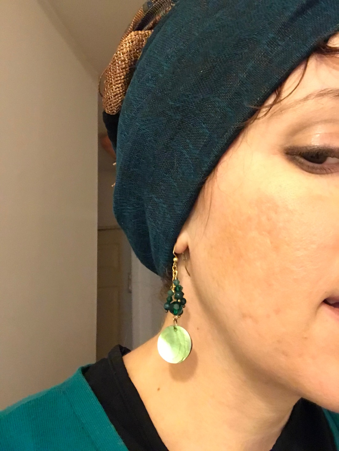 Anatomy- Teal with green earrings