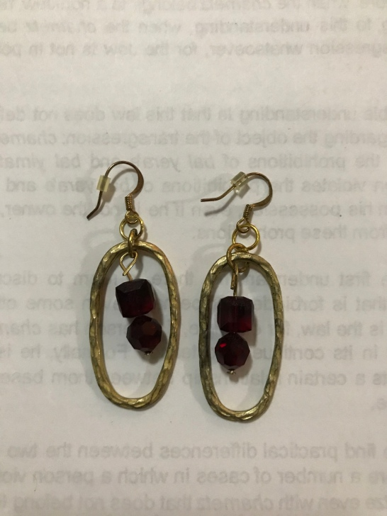 Red crystal oval drop earrings